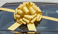 MEGA Giant Car Bow (42cm diameter) with 6m Ribbon - GLITTER GOLD