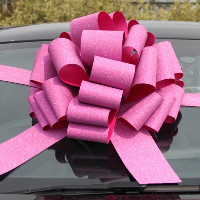 MEGA Giant Car Bow (42cm diameter) with 6m Ribbon - GLITTER PINK