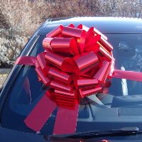 MEGA Giant Car Bow (42cm diameter) with 6m Ribbon - METALLIC RED