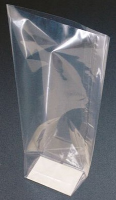 CANDY BAGS (pk 10) with Block Bottom and Twist Ties - CLEAR (small)