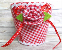 Round Red Checked Felt Basket with Red Rosette 14x11cm