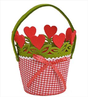 Round Red Checked Felt Basket with Red Rosette, Hearts and Handle