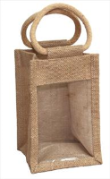 TALL JUTE BAG with Window and Cotton Corded Handles - 12x12x19cm high - NATURAL