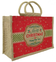 MEDIUM Open Jute Bag with Cotton Corded Handles - 30x12x20cm high - CHRISTMAS