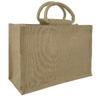 MEDIUM Open Jute Bag with Cotton Corded Handles - 30x12x20cm high - NATURAL