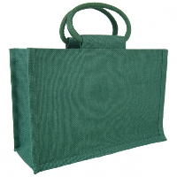 LARGE Open Jute Bag with Cotton Corded Handles - 35x15x25cm high - DARK GREEN