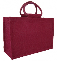 LARGE Open Jute Bag with Cotton Corded Handles - 35x15x25cm high - RED WINE