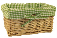 NATURAL Wicker Storage Basket with GREEN GINGHAM Lining - 24x18x12cm