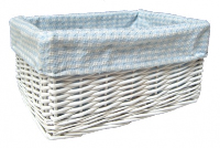 WHITE Wicker Storage Basket BLUE GINGHAM Lining - 24x18x12cm
