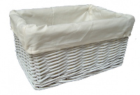 WHITE Wicker Storage Basket CREAM Lining - 24x18x12cm
