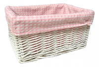 WHITE Wicker Storage Basket PINK GINGHAM Lining - 24x18x12cm
