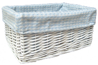 WHITE Wicker Storage Basket with BLUE GINGHAM Lining - 30x22x15cm