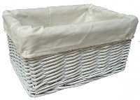 WHITE Wicker Storage Basket with CREAM Lining - 30x22x15cm