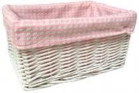 WHITE Wicker Storage Basket with PINK GINGHAM Lining - 30x22x15cm