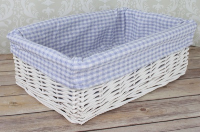 WHITE Wicker Storage Basket BLUE GINGHAM Lining - 35x24x12cm high