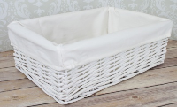WHITE Wicker Storage Basket CREAM Lining - 35x24x12cm high