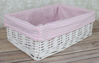 WHITE Wicker Storage Basket PINK GINGHAM Lining - 35x24x12cm high