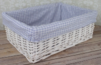 WHITE Wicker Storage Basket BLUE GINGHAM Lining - 41x31x15cm high