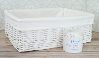WHITE Wicker Storage Basket CREAM Lining - 41x31x15cm high