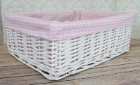 WHITE Wicker Storage Basket PINK GINGHAM Lining - 41x31x15cm high