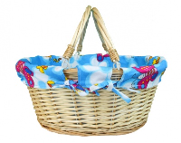 Large Premium SHOPPER with Folding Handles in Natural Wicker with BLUE Butterflies & Bees Cotton Lining - 41x33x18cm