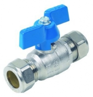 T Handle Ball Valve WRAS Approved Compression Ends Blue Handle