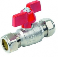 T Handle Ball Valve WRAS Approved Compression Ends Red Handle