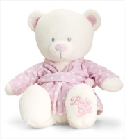 BABY BEAR in DRESSING GOWN by Keel Toys - PINK