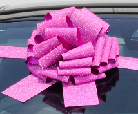 GIANT Car Bow (30cm diameter) with 3m Ribbon - PINK GLITTER