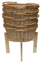 Wicker Shopping Baskets with Folding Handles and Wooden Shopping Display Stand - LARGE NATURAL