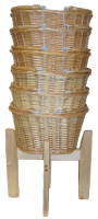 Wicker Shopping Baskets with Folding Handles and Wooden Shopping Display Stand - SMALL NATURAL