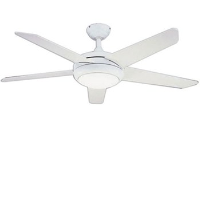 """Global 52"""" Neptune Ceiling Fan In White Complete With Halogen Light And Remote Control"""