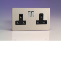 Varilight 2 Gang 13A Switched Socket In Brushed Steel With Black Insert XDS5BS