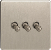 Varilight 3 Gang 10A 1 Or 2 Way Toggle Switch In Brushed Steel XDST3S