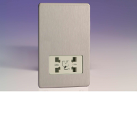 Varilight Dual Voltage Shaver Socket In Brushed Steel With White Insert XDSSSWS