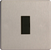 Varilight 13A Unswitched Fuse Spur In Brushed Steel With Black Insert XDS6UBS