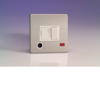 Varilight 13A Switched Fuse Spur In Brushed Steel + Neon + Flex Outlet With White Insert XDS6FONWS