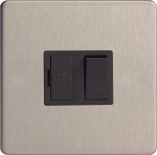 Varilight 13A Switched Fuse Spur In Brushed Steel With Black Insert XDS6BS