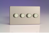 Varilight 4 Gang 250W 2-Way Push-On Push-Off Dimmer (Twin Plate) In Brushed Steel HDS44S