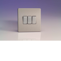 Varilight 3 Gang 10A 1 Or 2 Way Rocker Switch In Brushed Steel XDS3S