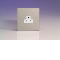 Varilight 1 Gang 2A Round Pin Socket In Brushed Steel With White Insert XDSRP2AWS