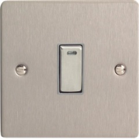 Varilight XFS20ND 1 Gang 20A Double Pole Rocker Switch With Neon In Brushed Steel