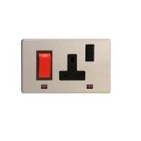 Varilight 45A Cooker Panel + Neon With 13A Switched Socket Outlet In Brushed Steel With Black Insert XDS45PNBS