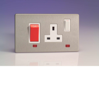 Varilight 45A Cooker Panel + Neon With 13A Switched Socket Outlet In Brushed Steel With White Insert XDS45PNWS