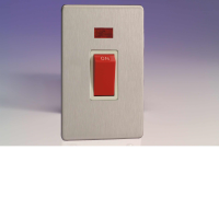 Varilight 45A Cooker Switch + Neon (Vertical Twin Plate) In Brushed Steel With White Insert XDS45NWS