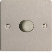 Varilight HFS9 1 Gang 1000W 2 Way Push-On Push-Off Dimmer In Brushed Steel