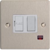 Varilight XFS20NW 1 Gang 20A Double Pole Rocker Switch With Neon Indicator Light With White Insert