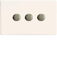 Varilight HDQ43S 3 Gang 250W 2-Way Push-On Push-Off Dimmer On A Twin Plate