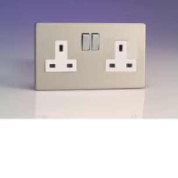 Varilight 2 Gang 13A Switched Socket In Brushed Steel With White Insert XDS5WS