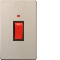 Varilight 45A Cooker Switch + Neon (Vertical Twin Plate) In Brushed Steel With Black Insert XDS45NBS